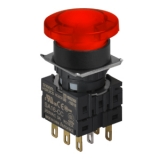 S16BR-H3R2C12 RED/2C/LED 12V Грибовидная кнопка, 16 мм